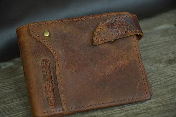 Men's Wallet / Tan Brown Leather Wallet / Bifold Wallet / Retro Wallet / Vintage Style Wallet / Distressed Wallet by SherryJewelry, $25.00