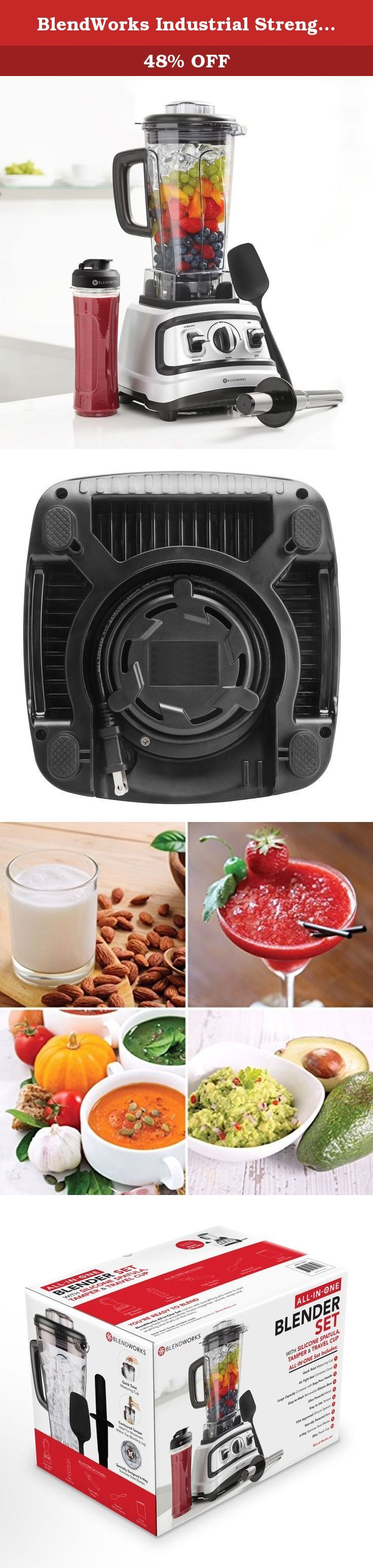 BlendWorks Industrial Strength Professional Food Processor/Blender Set- INCLUDES 4 Pcs: High Speed Blender, Silicone Spatula, Accelerator/Tamper & 20 oz Travel Cup. READY TO BLEND! No setup required! *BlendWorks All-In-One Set comes with everything you need to start making fresh fruit smoothies, frozen margaritas, sauces, soups, and anything else that's on the menu! * Featured Highlights: Industrial-Grade High Speed Motor - specially-designed 6-way stainless steel blades. Large Capacity...