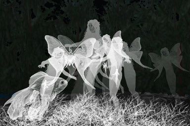 """""""Metempsyche's Garden"""" is a place of mysterious metaphysics. A fish is reborn as a mermaid, who is reborn as a human.  The human becomes a winged spirit, who is finally reborn as a luna moth.  The cycle repeats and overlaps, capturing the evolution of life from the sea to the land to the air. The focus is on the ephemeral giant particles, which are actually high-rez jpegs of digital drawings created with Corel Painter and a Wacom tablet and stylus. www.marthavista.com 14 x 21"""" on canvas"""