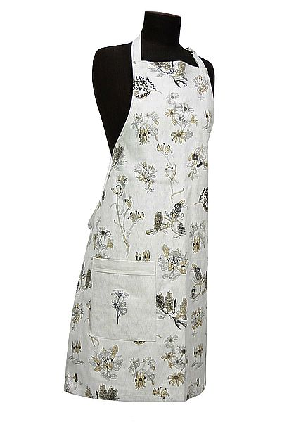 Organic Cotton Botanical Australia Apron  $29.95. Featuring the iconic floral emblems of the Flannel Flower, Waratah, Wattle, Grevillea, Australian Bluebell, Kangaroo Paw, Banksia, Flowering Gum and Sturt Desert Pea. http://www.greengiftsaustralia.com.au/shop/index.php?main_page=product_info&cPath=2_59&products_id=263