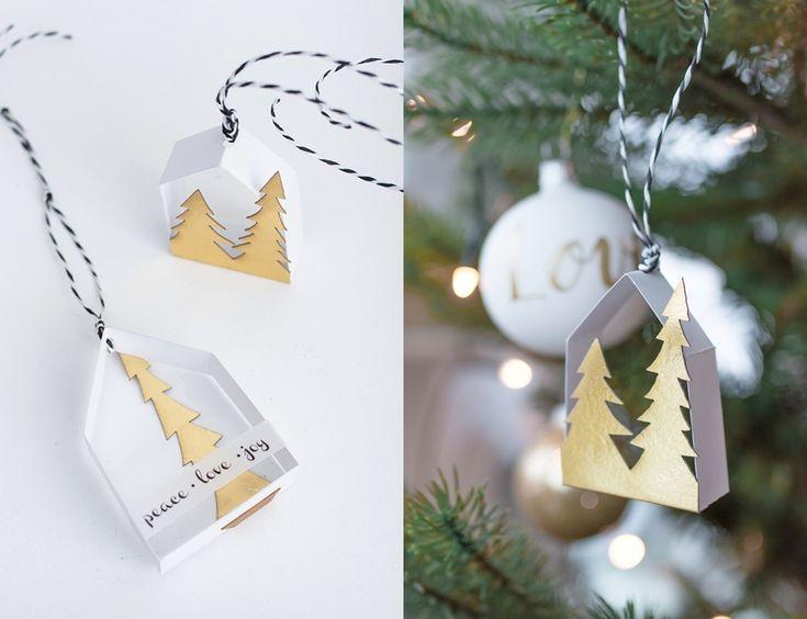 Weihnachtliche Papierhäuschen zum Selbermachen