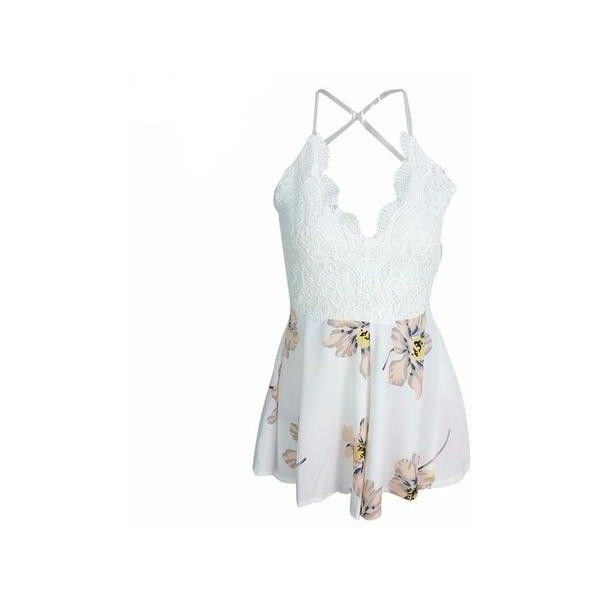 Faded Floral Lace Romper ($24) ❤ liked on Polyvore featuring jumpsuits, rompers, flower print romper, floral print romper, white lace rompers, white lace romper and long-sleeve romper