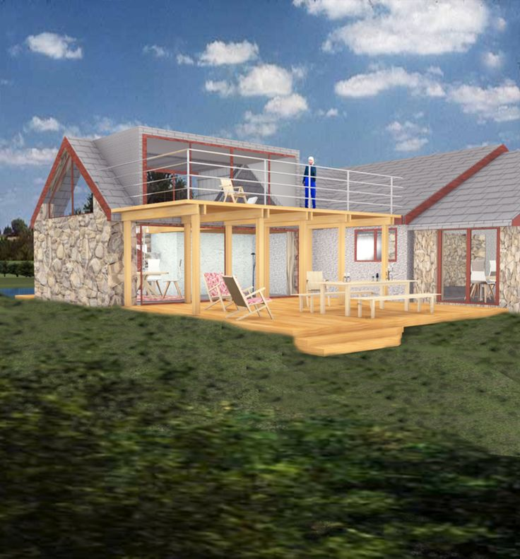 House extension to bungalow with raised terrace. www.greenheartarchitects.co.uk