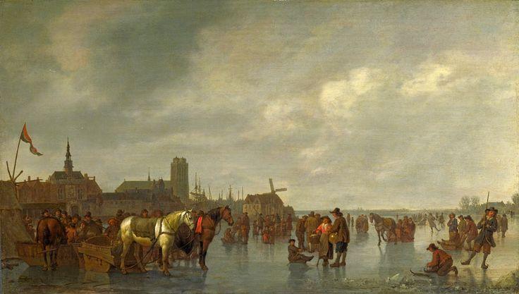 Abraham van Calraet (1642 - 1722). Сцена на льду в Дордрехте. 1665. Лондонская национальная галерея