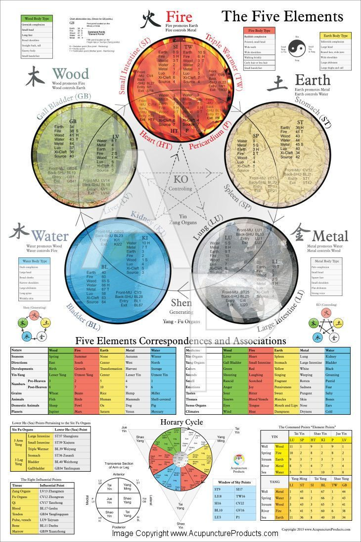 The Five Elements of  Acupuncture Poster