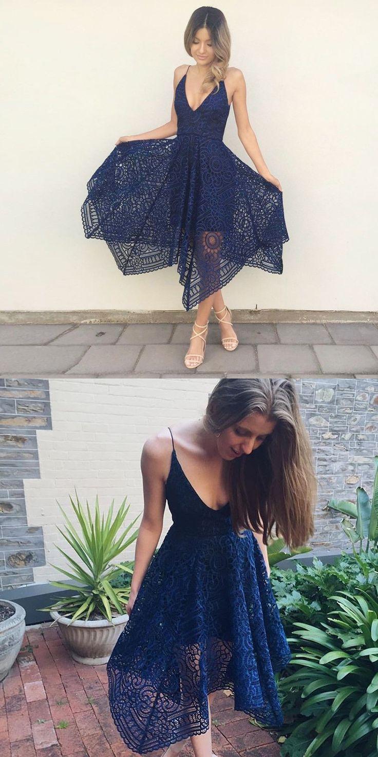 homecoming dress, short homecoming dress, 2017 homecoming dress, royal blue lace homecoming dress, straps royal blue short lace homecoming dress