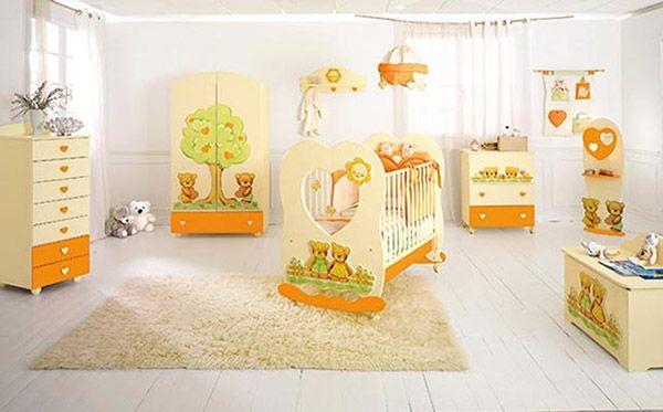 cameretta panna/arancio con lettino Cuore #baby #crib #cot