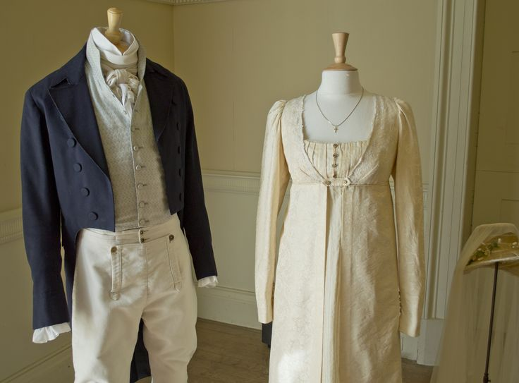 Suit & Dress worn by: Colin Firth & Jennifer Ehle who play Mr Darcy & Elizabeth Bennet in Pride and Prejudice BBC 1995 Version  These outfits are worn in the scene were their characters marry /  Picture taken at Belsay Hall & Gardens