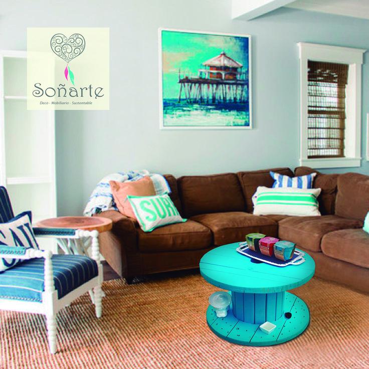 Mesa de Centro fabricada con carrete de madera de cables con colores a elección. Ideal para tu terraza, sala de estar o sala de juegos. www.sonarte.cl