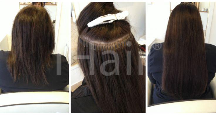 50 cm-es hajhosszabbítás keratinos hőillesztéses technikával 4-es barna színű hajfesték alkalmazásával