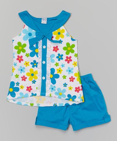 Look what I found on #zulily! Turquoise Bow Yoke Tank & Shorts - Toddler & Girls by Littoe Potatoes #zulilyfinds 9.99