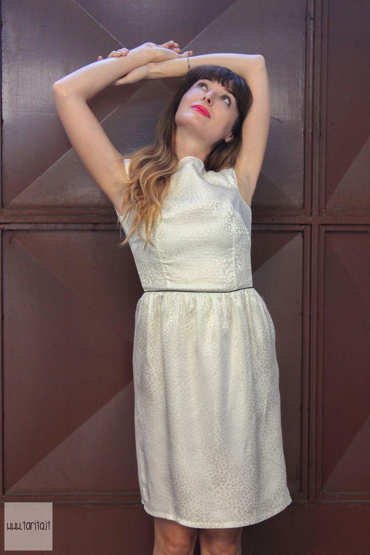"Tarita FW13/14. Tarita ""Numero UNO"" Collection. White silk dress with cap sleeves."
