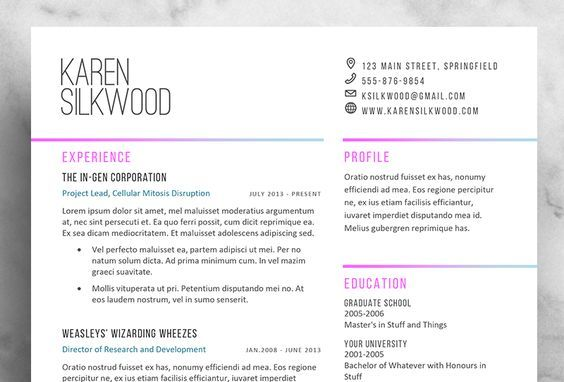 Karen Silkwood - Resume Template / CV Template, Cover Letter, References | 1 Page or 2 Page | Installation Guide, Font Guide
