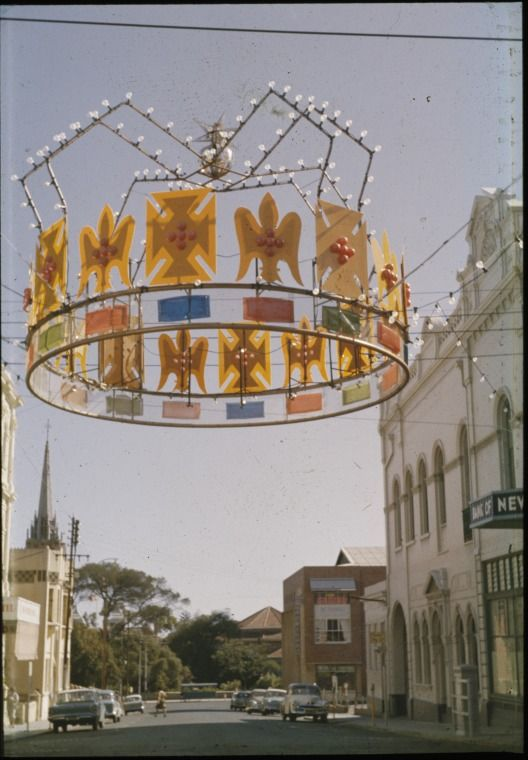 144606PD: Crown Christmas decoration, intersection of Pier and Hay Streets, Perth, 8 December 1962 https://encore.slwa.wa.gov.au/iii/encore/record/C__Rb4557469