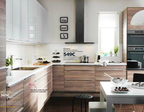 Modèle de cuisine Ikea Faktum Sofielund noyer gris clair : raffinement pour cuisine en L