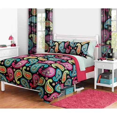 Girl Fun Bright Pink Orange Aqua Teal Paisley Full Comforter and Curtain Set (10pc Bed Room in a Bag) by Kids Bedding, http://www.amazon.com/dp/B009AAJ18I/ref=cm_sw_r_pi_dp_f.iqrb1KNQE9V