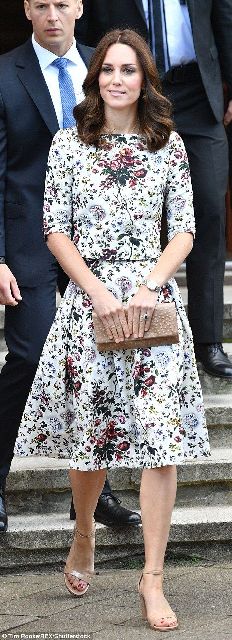 The Duchess opted for a summery look, teaming her floral dress with nude strappy sandals with a block heel