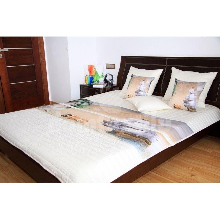 Béžovo smotanový prehoz na detskú posteľ s loďou