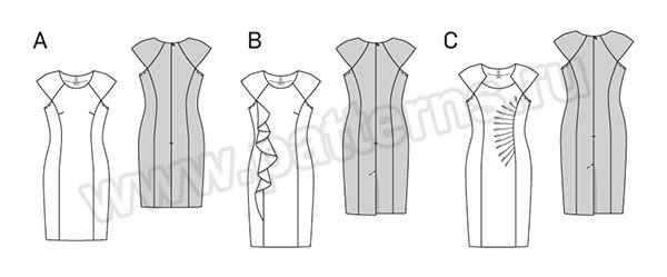Выкройка Burda (Бурда) 6920 — Платье прямое с драпировкой | Платья