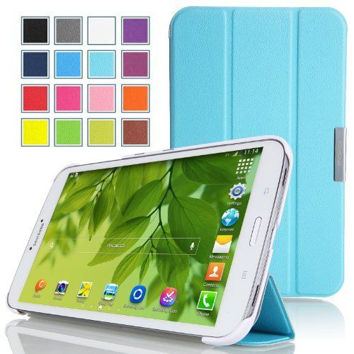 MoKo Samsung Galaxy Tab 3 8.0 Case - Ultra Slim Lightweight Smart-shell Stand Case for Samsung Galaxy Tab 3 8.0 Inch SM-T3100 / SM-T3110 Android Tablet, Light BLUE (with Smart Auto Wake / Sleep Feature) by MoKo, http://www.amazon.co.uk/dp/B00CSMYLKI/ref=cm_sw_r_pi_dp_2K6Msb06HM3KK
