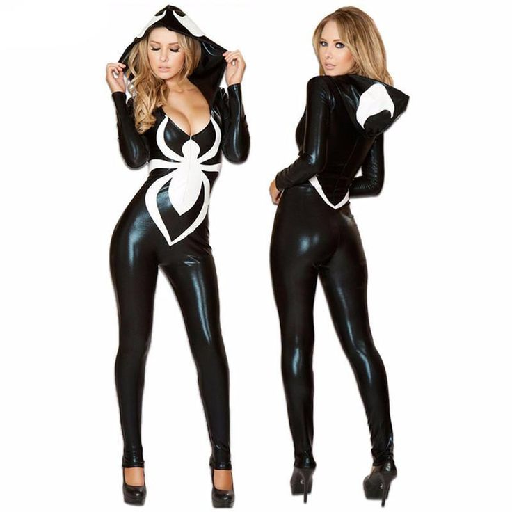 Women Black Spiderman Hoodie Jumpsuit Halloween Costumes | Women's Dresses & Accessories For Less