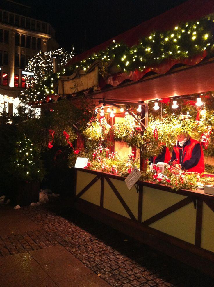 Hamburg Christmas market mistletoe stall
