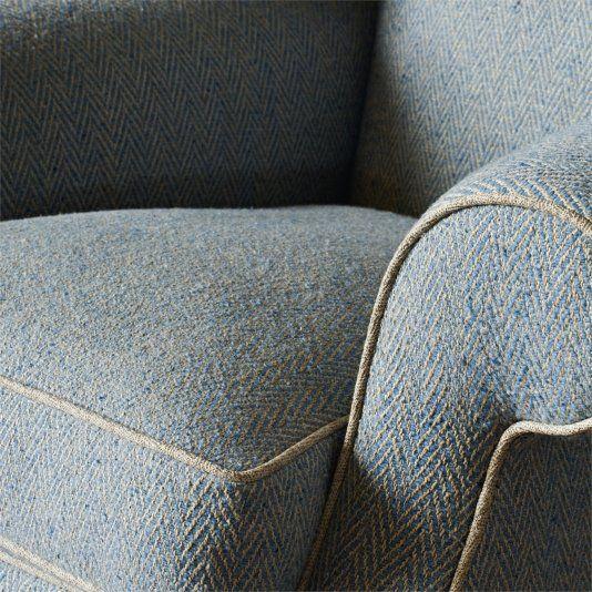 Banyan Fabric A hardwearing chunky-knit herringbone upholstery fabric with a subtle wool fleck, woven in burnt orange.