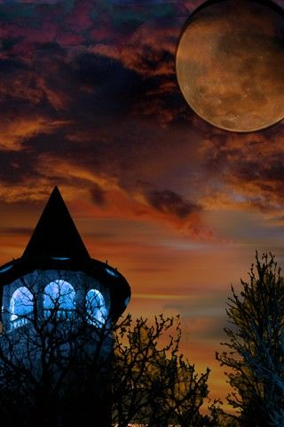 : Witch Brewing, Harvest Moon, Witch Hats, Halloween Night, Blue Lights, Witches, Full Moon, Night Sky, Witch Towers