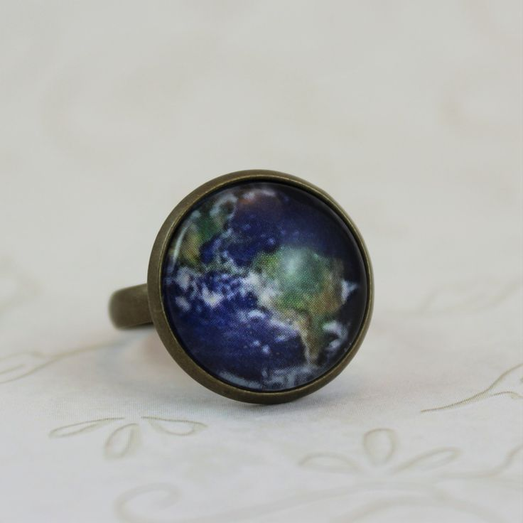 Earth Ring Planet Jewelry Art Ring Adjustable Antique Bronze Vintage Style Ring World Jewelry (10.00 USD) by MonaLaina