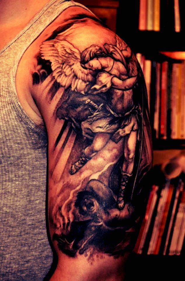 Instant Messaging Angel : Angel sleeve tattoo design for men ideas