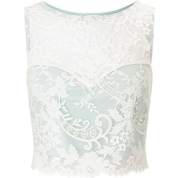 Miss Selfridge PETITE Mint Lace Top found on Polyvore featuring tops, shirts, crop top, white, mint green, petite, white lace shirts, petite white tops, petite tops and petite shirts