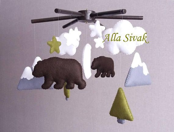 This adorable Scandinavian crib mobile will look lovely decorating your baby nursery. Your Baby will LOVE this bears and Mountain Baby Mobile with clouds and mini forest is. It is the perfect Baby Shower Present for any gender neutral babys room. Mommy-to-be will love it. A true keepsake