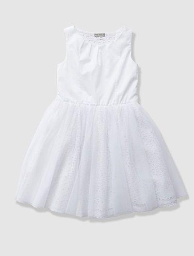 Robe de cérémonie fille en tulle et satin de coton Blanc+ROSE POUDRE - vertbaudet enfant