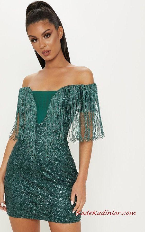 b051246d4947e Püsküllü Elbise Modelleri Yeşil Kısa Straplez Düşük Kol Simli Kumaş  Püsküllü #moda #fashion #fashionblogger #eveningdresses #eveninggowns  #promdresses ...