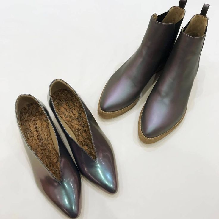 Iridescent Galore by Luca Hamamatsu . Sydney Brown Shoes, Boots, Flats, Wedges. #aw18 #ss18