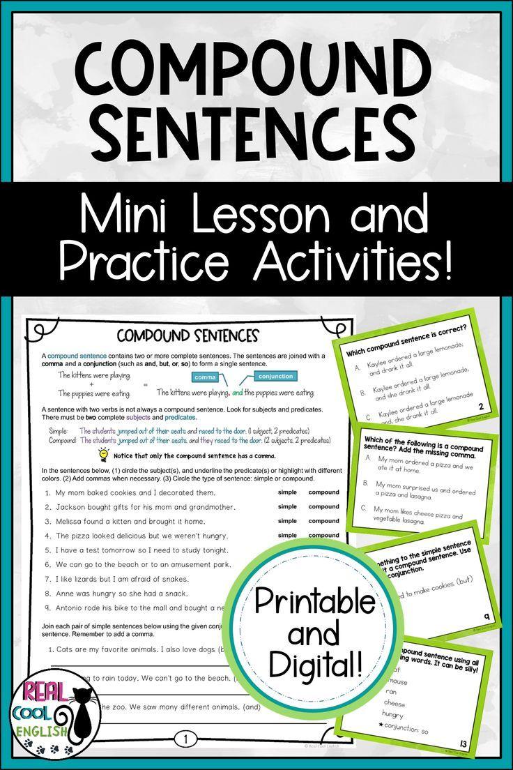 Compound Sentences Practice Activities Printable And Digital In 2020 Sentence Activities Compound Sentences Mini Lessons