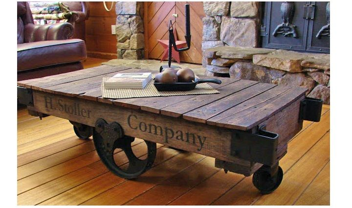 Antique Lineberry Factory Cart Coffee Table Railroad DIY Furniture