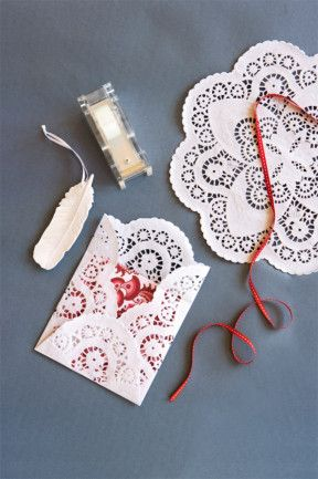 Fancy envelopes  Who doesn't love a voucher, some tickets or a little spending money for a gift? Make the present extra special with one of these lacy envelopes.