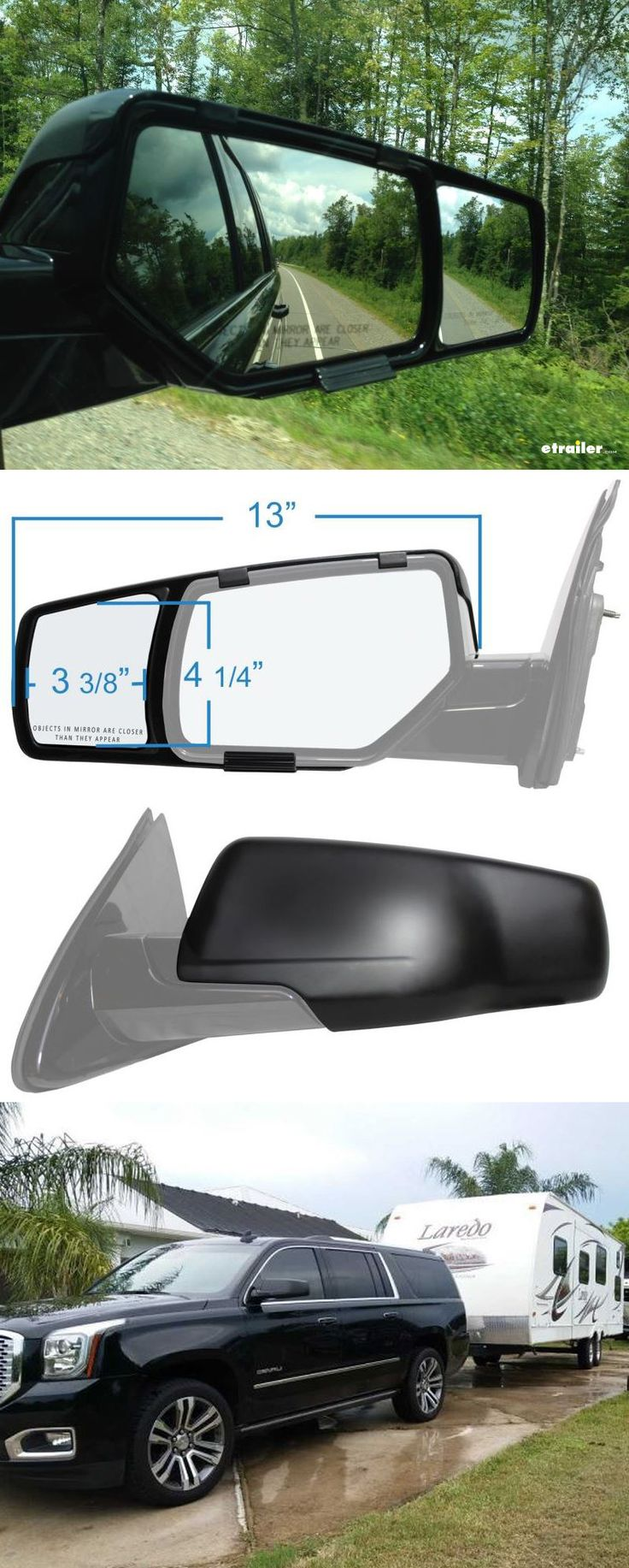 Get a complete rear view while towing your camper or trailer with custom fit towing mirrors