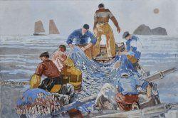 Mathurin MEHEUT - Pêche à la sardine en canot en baie d'Audierne. 1952.