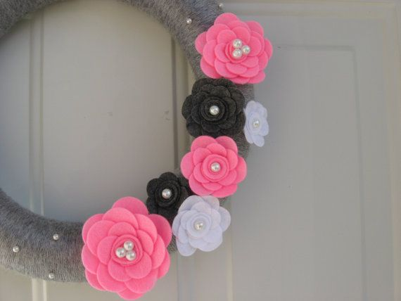 Spring Wreath Silver Grey Pink White and by AnitaRexDesigns