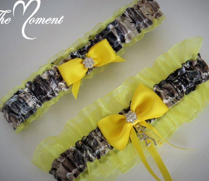 Yellow Camo Garter Set Keepsake And Toss Away Bridal