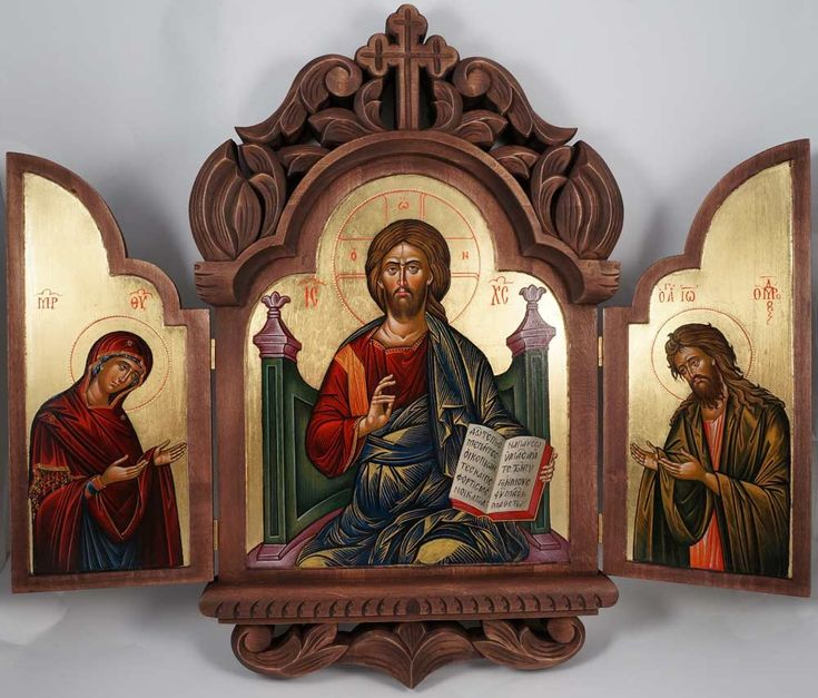 Deesis Hand-Painted (Carved Wood) Triptych. Christ in Majesty (Enthroned) in the middle. Theotokos and St John the Baptist are facing towards Christ with their hands raised in supplication.