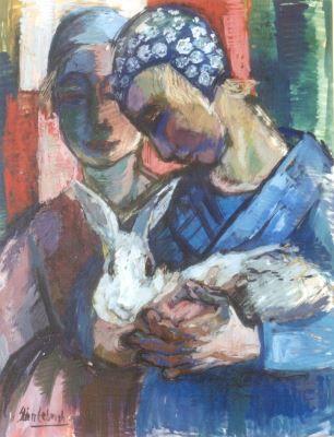 Christiana 'Stien' Eelsingh (Zwolle 1903-1964 Meppel) Twee Staphorster meisjes met konijn - Kunsthandel Simonis en Buunk, Ede (Nederland).