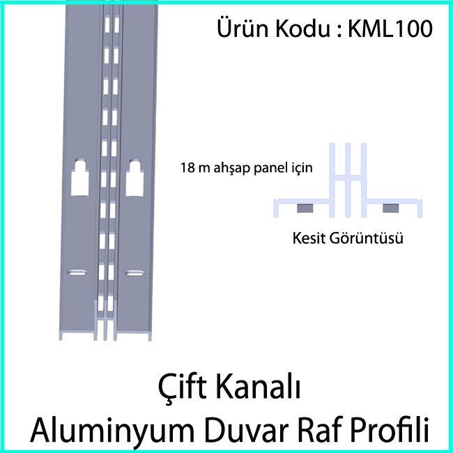 çift slotlu duvar rayı KML100