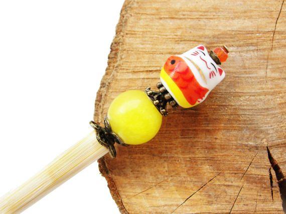 Wooden japanese hair stick and maneki neko fortune lucky cat ceramic bead with marble and crystal - kanzashi, hairpin, pin chopstick orange