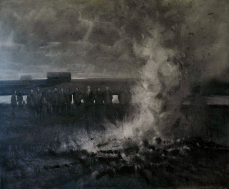 Graphite and charcoal drawing, mixed media drawing in black and white. A landscape with figures around a bonfire by Michael Hames.