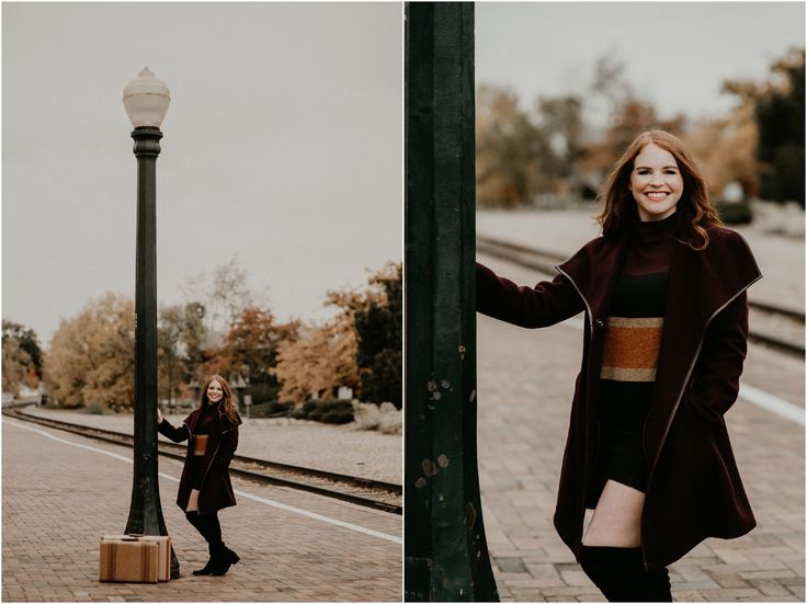 Boise Senior Photographer // Makayla Madden Photography // Eagle High Senior //  Red Head // Fall Senior Pics // Fall Senior Picture Outfit and Location Ideas and Inspiration // Urban Senior Pictures // Senior Photography // Vintage Suitcases // Vintage Senior Session //