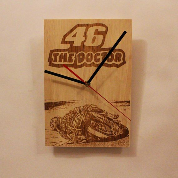 Check out this item in my Etsy shop https://www.etsy.com/listing/515688497/wooden-wall-clock-moto-gp-valentino