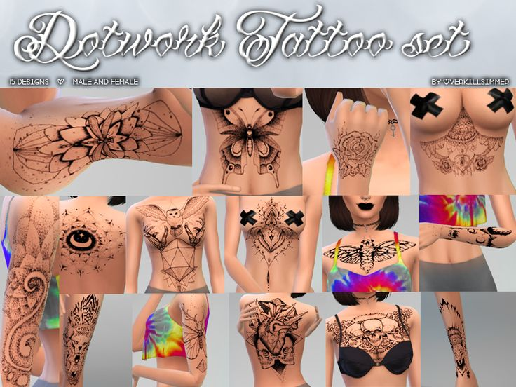 Dotwork Tattoo Set• 15 designs in diferent places • male and female Please, …   – Sims 4